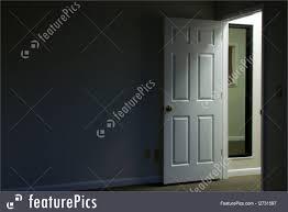 Interior Architecture Open Door In Dark Room Stock Picture