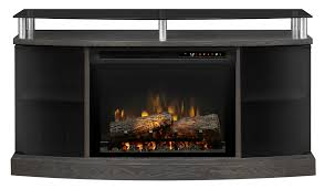 dimplex windham silver charcoal wood media console electric fireplace with logs to enlarge