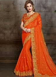 Designer Wear Sarees In Hyderabad Orange Embroidery Booti Work Chiffon Designer Fancy Party