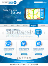 Modern Website Templates Awesome Modern Blue Business Website Template Gps Stock Vector Royalty Free