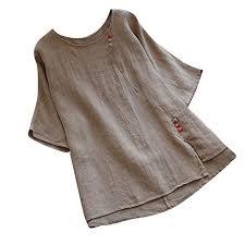 Xvssaa Women Vintage Pure Color Plus Size Blouse Tops