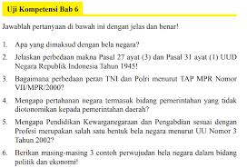 Mar 24, 2019 · kunci jawaban evaluasi bab 2 sejarah indonesia kelas 10 kelompok wajib penerbit erlangga k2013 kunci jawaban sejarah indonesia bab 2 a. Jawaban Uji Kompetensi Bab 6 Pkn Kelas 9 Halaman 184 Bela Negara Dalam Konteks Nkri Bastechinfo