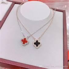 whole 2018 new for van cleef arpels s925 sterling silver high quality necklace four leaf double sided brick necklace heart necklace costume jewelry