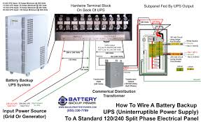 how to wire a ups to a standard 120 240 split phase electrical panel Portable Generator Wiring Diagram at Hammond Power Solutions Wiring Diagram