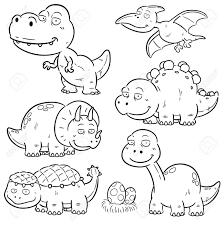 恐竜漫画のキャラクター の塗り絵のベクトル イラスト