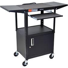 luxor adjustable height steel a v cart with keyboard shelf drop leaf shelves