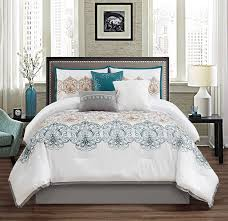 serenity 7 piece teal gray white embroidered medallion pattern bedding comforter set bedding collections