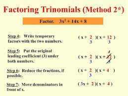 15 factoring trinomials