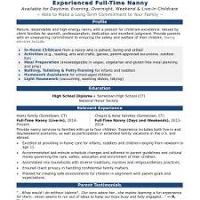 Child Care Resume Examples Best of Refrence Nanny Resume InstaEngineCo
