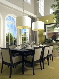 casual dining room lighting idea with low ceiling double white drum shade pendant lamps over table lamp height pen