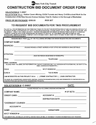 Bid Form For Construction Printable Blank Bid Proposal Forms Construction Form For Parttime Jobs