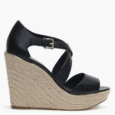 abbott black leather wedge sandals