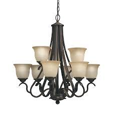 portfolio llana 27 43 in 9 light black bronze craftsman etched glass shaded chandelier