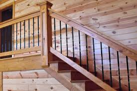 knotty pine paneling 1x6 tongue groove clear finish staircase