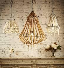 large boho natural beaded chandelier
