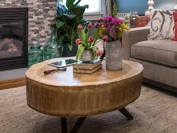Sliced Log Coffee Table How To Build A Stump Coffee Table How Tos Diy