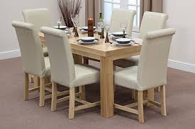 dining room leather chairs for sale. chunky 5ft solid oak dining table + 6 braced cream scroll back leather chairs room for sale r