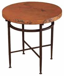 round iron end table with copper