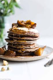 healthy gluten free buckwheat pancakes with roasted peaches so light and fluffy that you