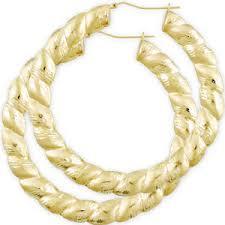 huge 10kt gold twisted dia cut round door knocker earrings 3 3 8 inch
