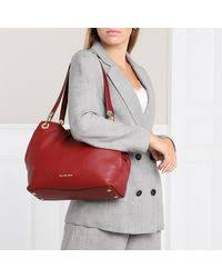 Michael Kors Leather Raven Lg Shoulder Tote Brandy in Red - Lyst
