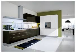 spiffy black and white glossy acrylic modern kitchen cabinets on white tile floors as well as white backsplash in open modern kitchen designs