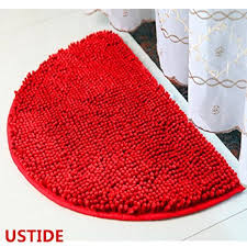 ustide half round rug chenille area rug red rug for bathroom non slip absorbent mat soft floor rug small in on alibaba com