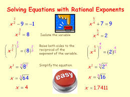 7 equations with rational exponents