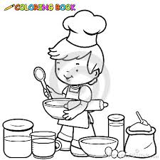 Small Picture coloring pages kitchen tools boy cooking coloring page stock