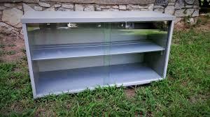 mid century modern buffet china hutch top display case cabinet sliding glass doors