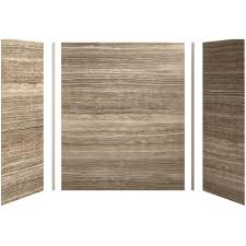 kohler cograph 60in x 32 in x 72 in 5 piece bath shower wall surround in veincut sandbar for 72 in bath showers k 97618 w09 the home depot