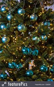 Holidays: A christmas tree with blue ball decorations