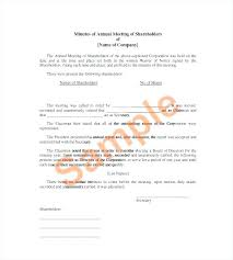 Minutes Document Template Notice Of Shareholders Meeting Template Cotizarsoat Co