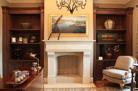 fake fireplace mantel home office traditional with bookcases chandelier cherry wood cabinets desk fireplace