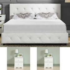 Queen Size Bedroom Set 2 Nightstands Modern Luxury Design Furniture White Bed 600188520507   eBay