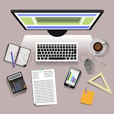 student desk top view. Fine Desk Concept With Top View Of Office Desk Keyboard Phone Personal  Accessories Student Flat Design Modern Concept Creative Workplace In Student Desk Top View O