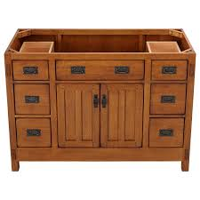 American Craftsman Vanity For Undermount Sink Rustic Oak Bathroom - Oak bathroom vanity cabinets