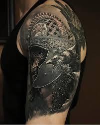 Fancy Gladiator Helmet Tattoo Raven Skeleton Tattoo Skull Knight