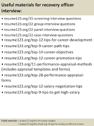 Recovery Officer Sample Resume Top 100 recovery officer resume samples 31