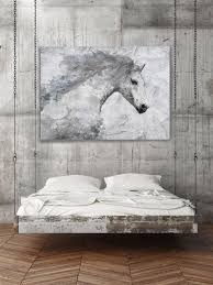 extra large horse unique horse wall decor white grey rustic horse large canvas art print up to by irena orlov