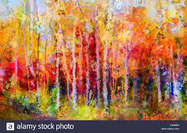 oil painting landscape colorful autumn trees semi abstract paintings image of forest aspen tree with yellow and red leaf autumn fall season natu