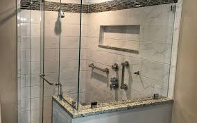 frameless barn style sliding shower door installed in north reading