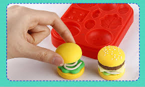 12cm <b>Plasticine</b> clay <b>Mold Tool Set</b> Donuts Kids Burger fries hot dog ...