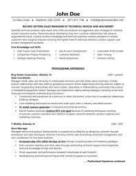 Sales Manager Resume Technical Machinery Device Sales Writing