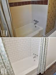 before after diy budget bathroom renovation reveal with white subway tile shower surround a double shower curtain