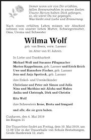 Wilma Wolf : Traueranzeige, Cuxhavener Nachrichten