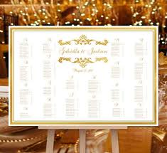 Table Number Chart Wedding Wedding Seating Chart Poster Emma Gold Print Ready Digital File