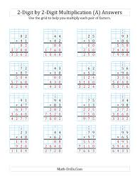 2 Digit By 2 Digit Multiplication With Grid Support A