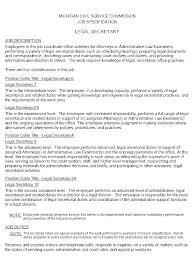 Legal Secretary Job Description For Resume