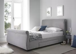 grey upholstered sleigh bed. Olivia Upholstered Sleigh Bed - Steel Grey A